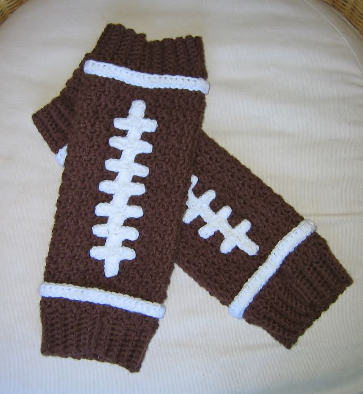 Crochet football legwarmers