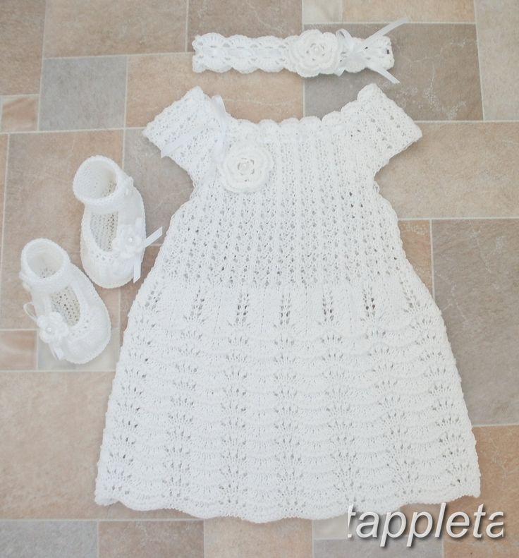 free shipping Платье, пинетки туфельки и повязка, наряд для крещения, вязанный, белый by tappleta on Etsy