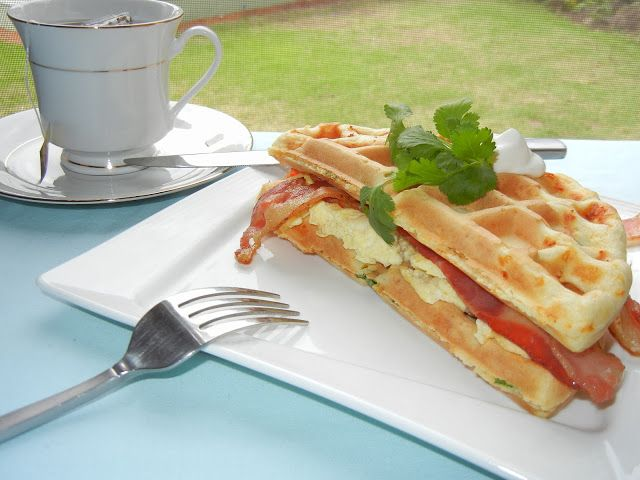 Bacon and Egg Waffle Breakfast Sandwich - Will Cook For Smiles