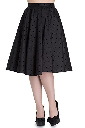 Hell Bunny Tara Full Circle Flocked Polka Dot 50's Skirt – Black (S)  Special Offer: $29.99  499 Reviews Vintage style, full circle skirt from Hell Bunny with flocked polka dots of nylon. Fastens with a button and zip at the centre back. Available in XS (US 4) to 4XL (US...