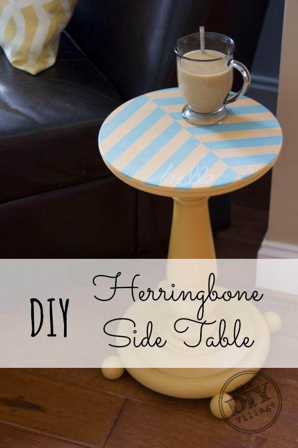 DIY Herringbone Side Table....so cute! pin now, do later!!
