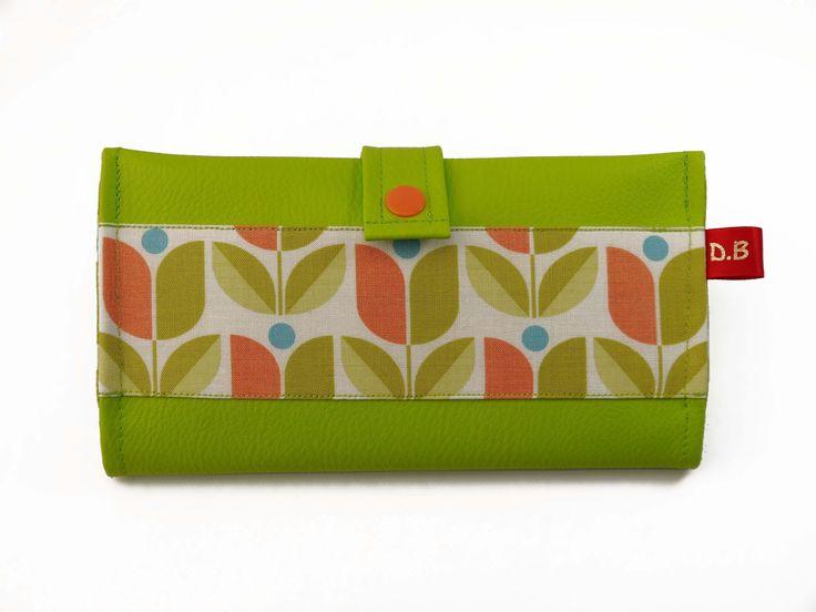 Portefeuille Porte-chéquier en simili-cuir vert pomme : Porte-monnaie, portefeuilles par d-balzan