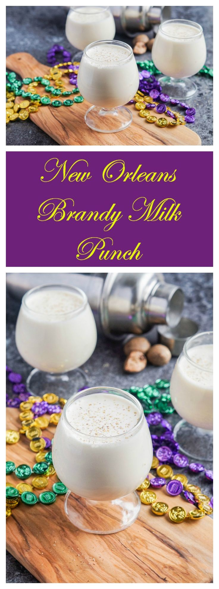 Recipe for New Orleans Brandy Milk Punch- This Mardi Gras favorite brings together milk and cream with brandy, vanilla, and powdered sugar for a smooth and creamy cocktail.  #SundaySupper #NewOrleans #recipe #MardiGras #milk #milkpunch #brandy #cocktail #drink #beverage