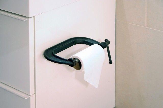 C-clamp toilet paper holder
