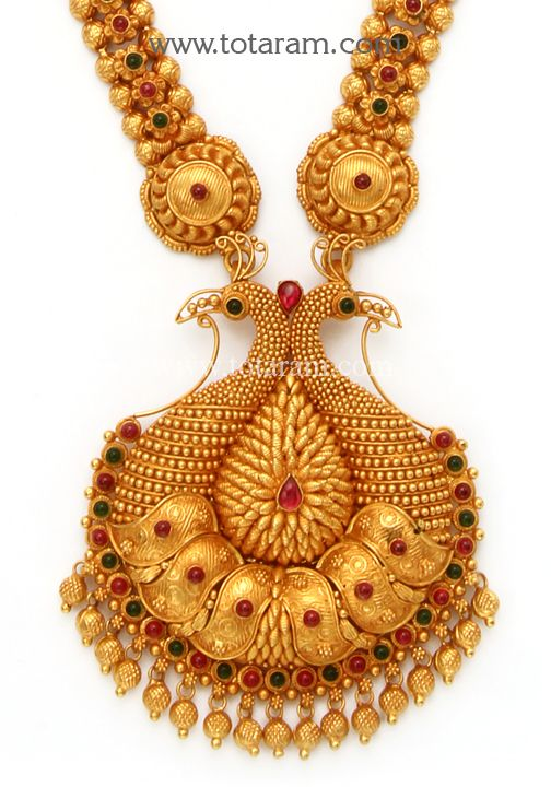 Check out the deal on 22K Gold '2 in 1' Peacock Long Necklace (Temple Jewellery) at Totaram Jewelers: Buy Indian Gold jewelry & 18K Diamond jewelry