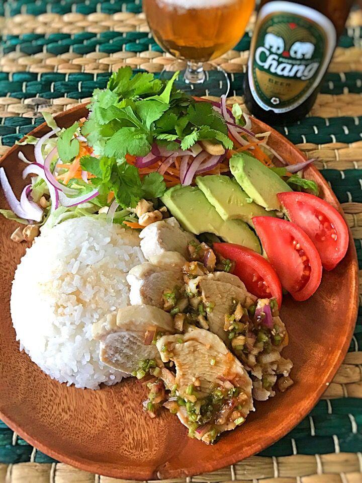 アッチ's dish photo カオマンガイ パクチーサラダ | http://snapdish.co #SnapDish #レシピ #タイ料理 #混ぜ・炊き込みご飯/お粥 #お昼ご飯