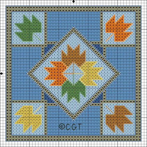 Quilt Patterns Cross Stitch : Free Maple Leaf Mini Quilt Cross Stitch Pattern - Free Printable Chart Mini quilts, Quilt and ...