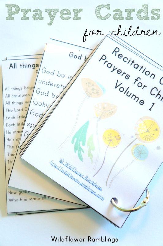 Prayer Cards for Children {free printable!} from Wildflower Ramblings