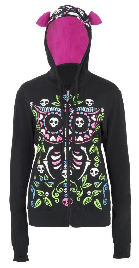 Jawbreaker Hoodie Owl Of The Dead Women/'s Black
