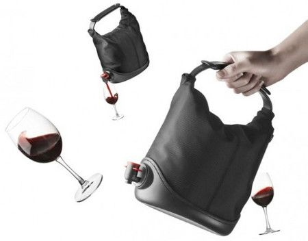 the Baggy Wine Coat. Simply place a bag of wine in this purse, close the flexible top, et voilà! You have a way to carry your wine with you wherever you go. The savvy sack has a rubber bottom to prevent tipping over, as well as a side dispenser. $58