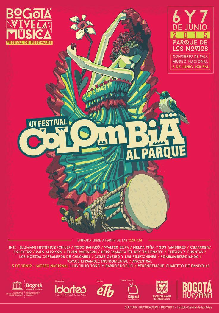 Afiche XIV Festival Colombia al Parque. Diseño/Ilustración: Raúl Diaz. Bogotá, 2015.
