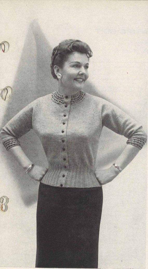 Beads & Stripes • 1950s Plus Size Knit Sweater Jumper Cardigan Blouse Patterns • 50s Vintage Knitting Pattern • Retro Women's Digital PDF