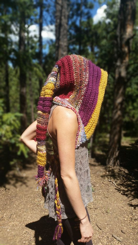 Crochet wizard hood OOAK by aMandalaCreations on Etsy