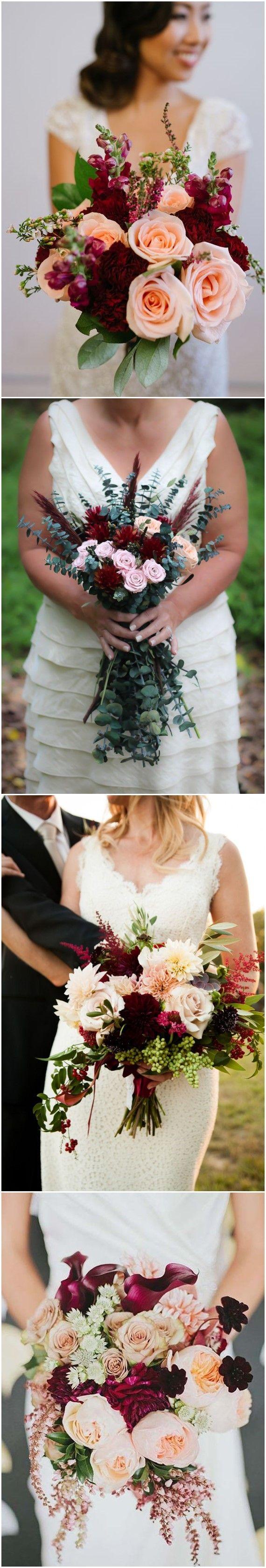 #WeddingBouquet»16 Elegant Burgundy and Blush Wedding Bouquet Ideas