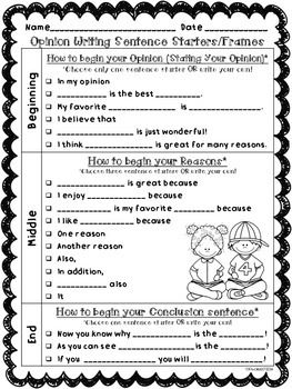 Back to School & Beginning of the Year Writing: This set of Opinion & Narrative writing sentence starters/frames, graphic organizers, and publishing templates are perfect to help your little writers write opinions and narratives.Included are three different sets.