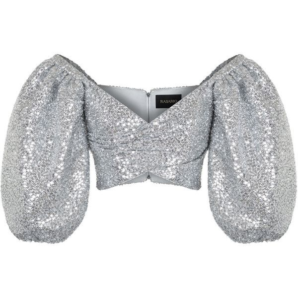 Silver Sequin Cropped Blouse | Moda Operandi ($1,770) ❤ liked on Polyvore featuring tops, blouses, rasario, balloon sleeve blouse, sequin blouse, off the shoulder sequin top, silver crop top and silver sequin top