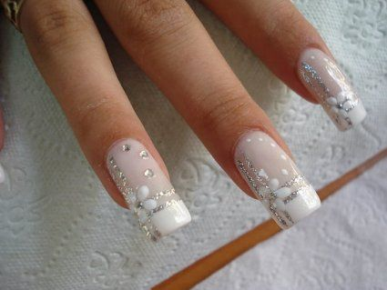 White Flower Silver Nails For Weddings!!