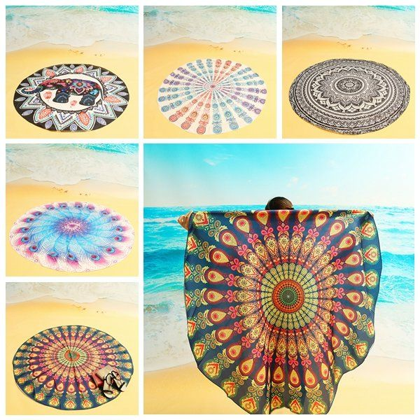 150cm/ 59'' Bohemian Style Beach Yoga Towel Tapestry Tablecloth Silk Scarf Mandala Round Bed Sheet