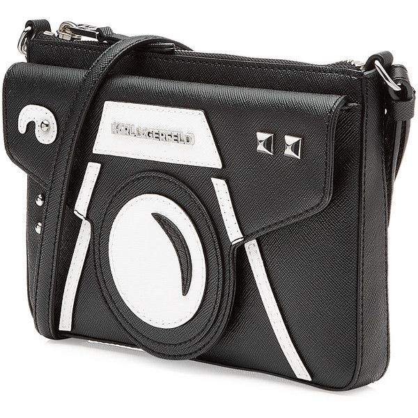 Karl Lagerfeld Camera Shoulder Bag ($135) ❤ liked on Polyvore featuring bags, handbags, shoulder bags, print handbags, black and white handbags, black white purse, studded purse and studded handbags
