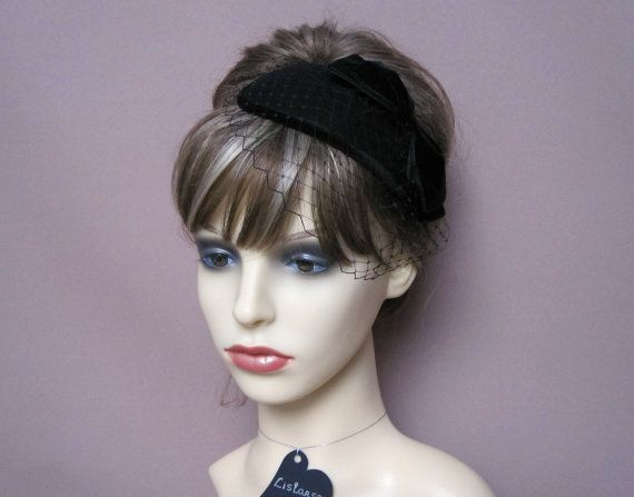 vintage style teardrop pillbox fascinator small by LisLarsonHats