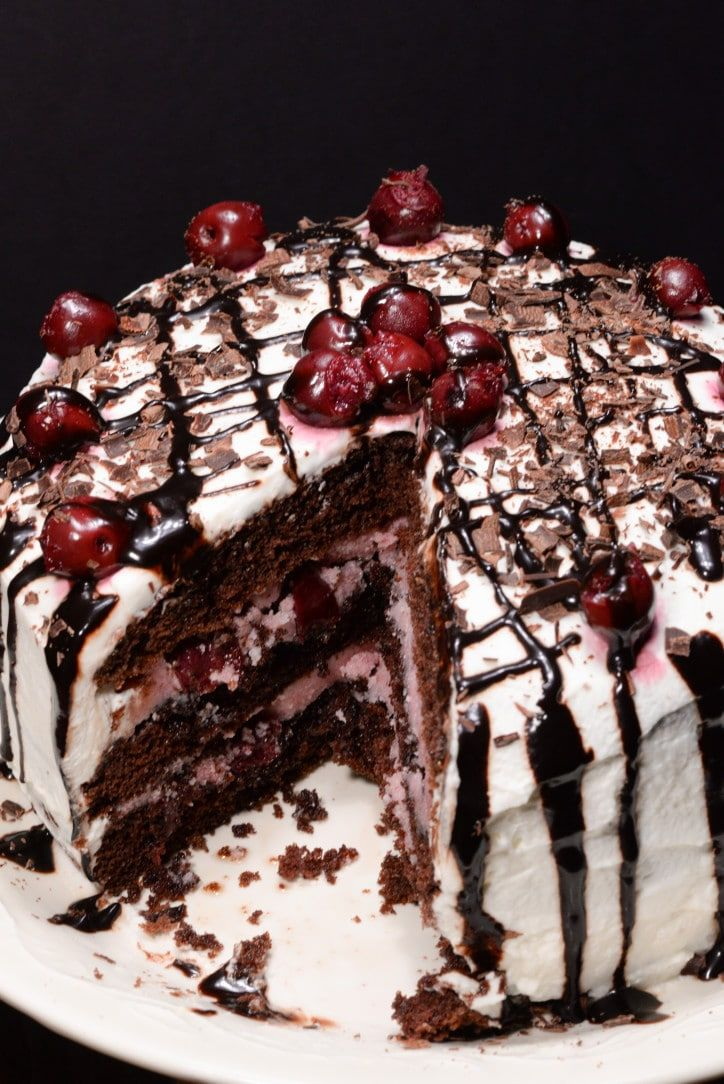 "German black forest cake traditionally is an ""adult"" cake made with a cherry liquor called kirsch that comes from the Black Forest region of Germany. In North America this cake is often found made with a sweet cherry pie filling which is not anything like the real thing."