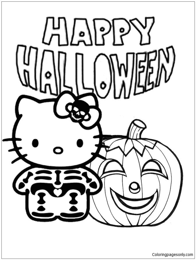 Hello Kitty Skeleton And Pumpkin Halloween Coloring Page Hello Kitty Colouring Pages Halloween Coloring Halloween Greeting Card