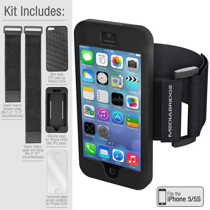 Armband Value Pack for iPhone 5/5S By Mediabridge - 1 Slim Shell Case (Black)... #Mediabridge