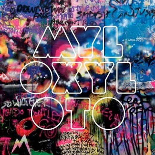 "Album cover: Coldplay's ""Mylo Xyloto,"" combining an outlined typeface, vivid pastels & graffiti."
