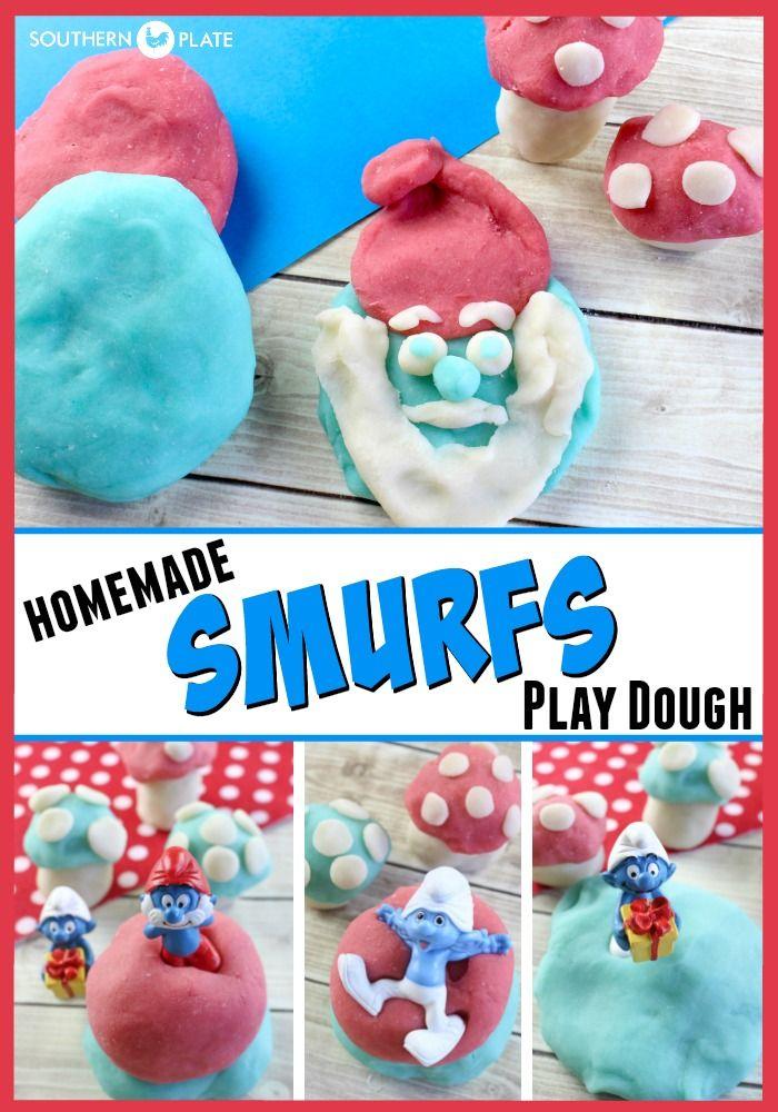 Homemade Smurf's Play Dough ~ http://www.southernplate.com