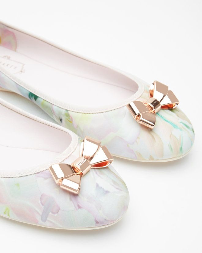 METAL BOW FLAT BALLET PUMP - Nude Pink | Footwear | Ted Baker UK