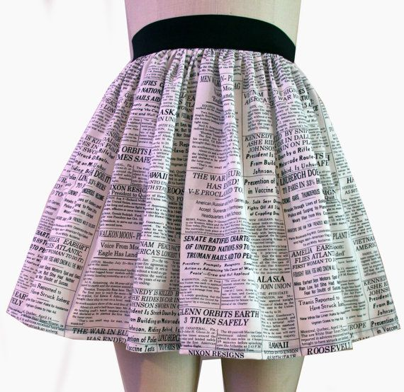 Newspaper Full Skirt by GoFollowRabbits