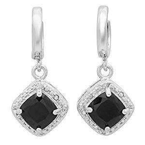 1.22 Carat (ctw) Sterling Silver Black Sapphire & White Diamond Accents Ladies Halo Dangling Drop Earringsby DazzlingRock Collection