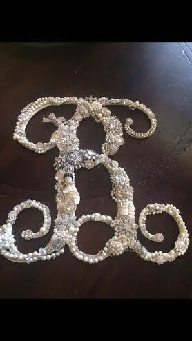 """I made a custom #BLING """"B"""" initial for my #grandbaby, Brynn. Several clients have now asked me to create one for them! The letters are about 19 inches tall, and I LOVE #desiging them! #DonnaMossDesigns  http://www.thats-haute.com/"""