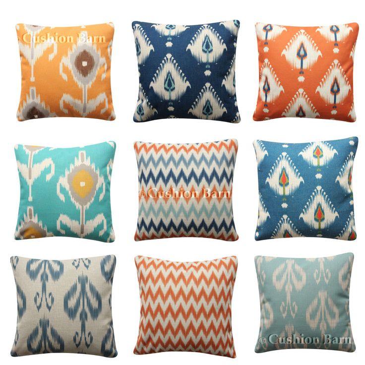 Navy Aqua Turquoise BOHO IKAT Moroccan Cushion Cover Throw Geometric Pillow