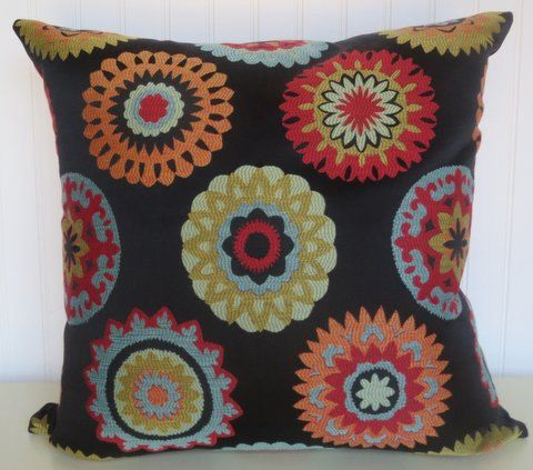 Transitional Decorative Pillow Cover 20 x 20 Throw Pillow--Red, Green, Yellow, Blue, Orange, Black.