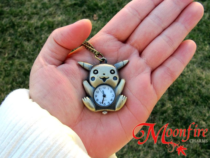 Pika pika! Take this adorable Pikachu pocket watch wherever you go! The bronze-plated pocket watch measures 3.5 cm by 3 cm. The bronze-plated chain measures 28 inches.