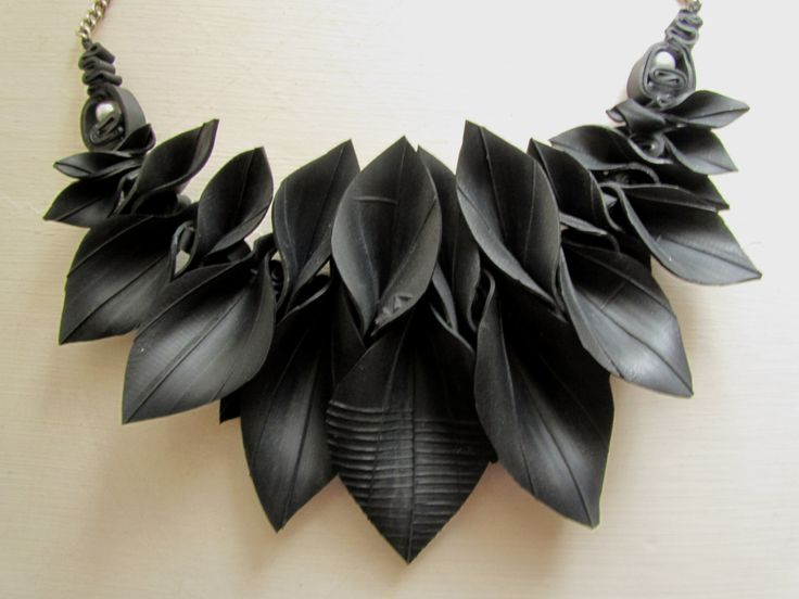 Autumn Leaves upcycled inner tube necklace by Har1equinRose