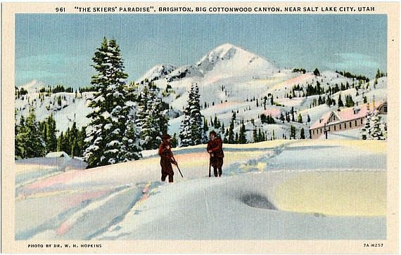 Vintage Utah Postcard - Brighton Ski Resort in Big Cottonwood Canyon (Unused)