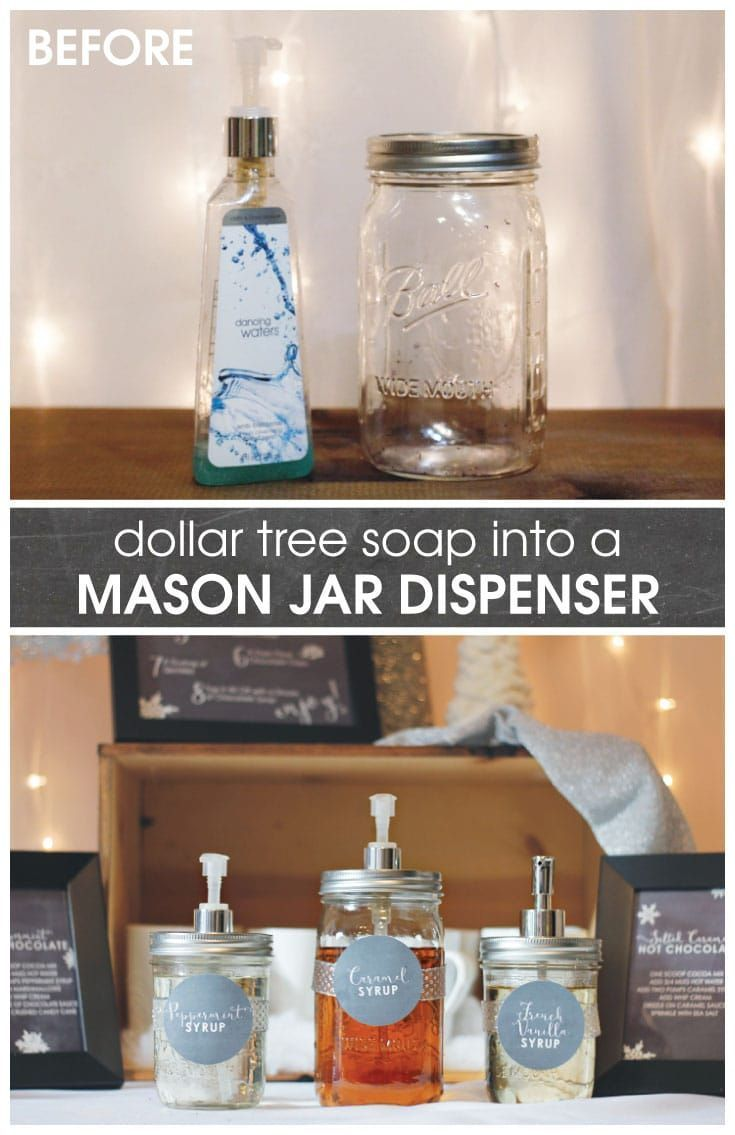 Dollar Tree Soap Dispenser : dollar, dispenser, Mason, Dispenser, Using, Dollar, Pump., These, Perfect, Flavored, Dispenser,