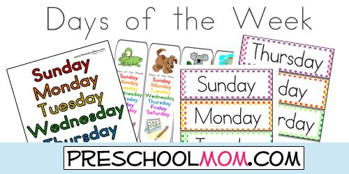 Free Days of the Week Printables from Preschool Mom!  Classroom Charts, Bookmarks, Wordwall cards, File Folder Game, Learning Centers and more!