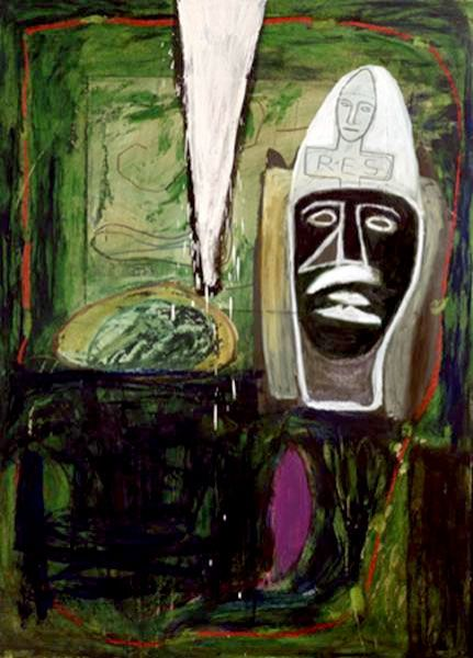 Mimmo Paladino, Italian (1948 - ) Title: Untitled - Green (RES) Year: 1989 Medium: Mixed Media on Cardboard  Size: 42 in. x 31 in. (106.68 cm x 78.74 cm)