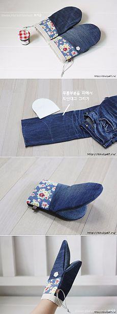 Как сшить прихватку из джинсы
