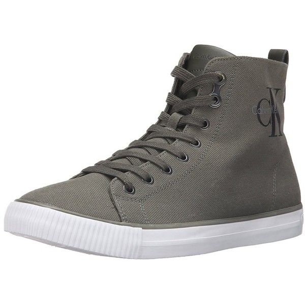 Calvin Klein Mens Arthur Canvas Low Top Lace Up Fashion Sneakers ($31) ❤ liked on Polyvore featuring men's fashion, men's shoes, men's sneakers, grey, shoes, mens summer sneakers, mens sport shoes, mens canvas shoes, mens winter boots and mens grey shoes