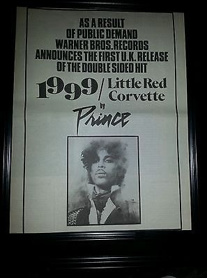 Prince 1999 Little Red Corvette Rare Original Promo Poster Ad Framed!