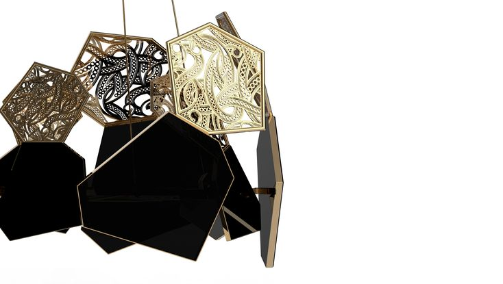 This sleek and elegant chandelier will hypnotize its audience. You will become mesmerized as the intricately fashioned chandelier coils and bends in golden spirals; weaving itself elaborately within the sharp polished lines of the hexagonal silhouette. The graceful pattern of cut polished brass detail compliment the black glass component of this piece.