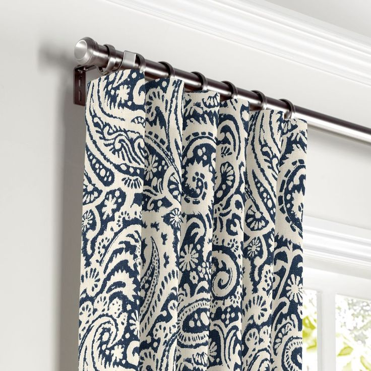 White-Navy-Blue-Paisley-Curtain,-Ring-Top-Front