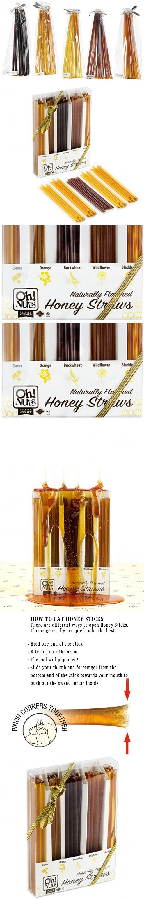Holiday Honey 5 Flavor Gift Box 50-count, Honey Sticks Gift Set - Oh! Nuts