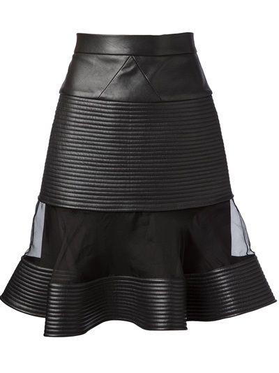 DAVID KOMA Sheer Panel Leather Skirt.