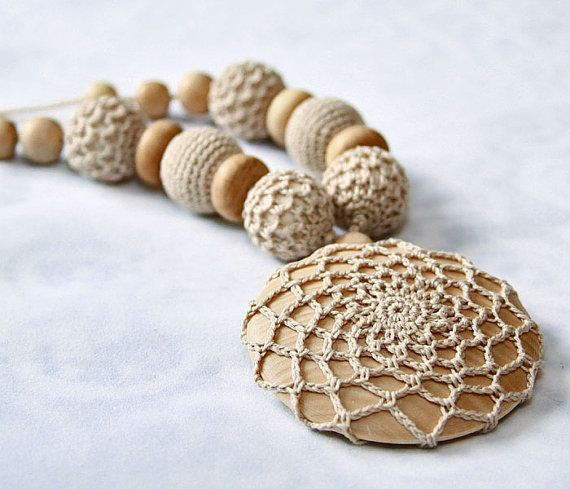 Boho necklace / Nursing Necklace / Teething necklace/ Necklace with crochet pendant /  Beige on Etsy, $26.00