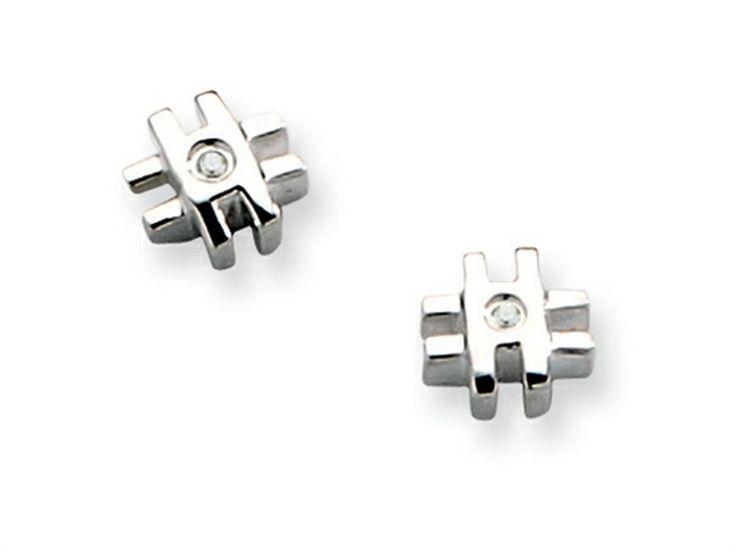 White Ice Sterling Silver Diamond Cross Earrings